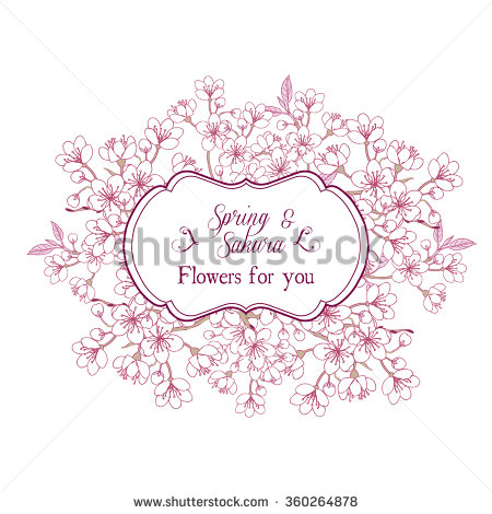 Drawn sakura blossom vector Spring illustration Background with with