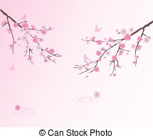 Drawn sakura blossom vector Blossom water and Cherry Stock