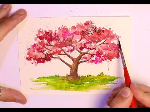Drawn sakura blossom watercolor  PAINTING PAINTING TREES TREE