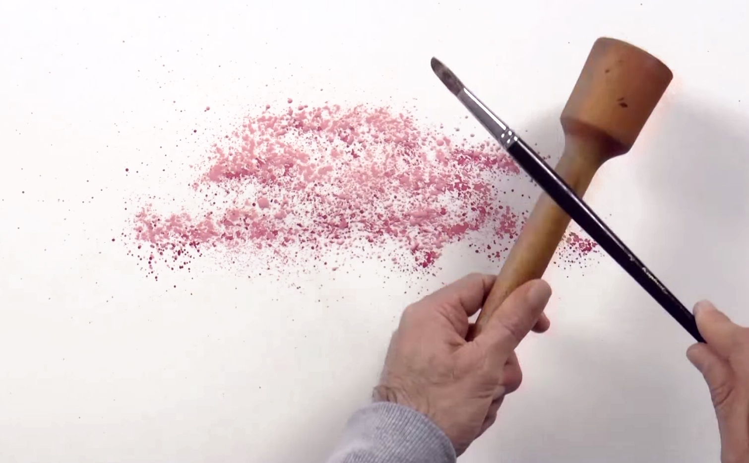 Drawn sakura blossom watercolor Technique 3 Cherry Three Splatter