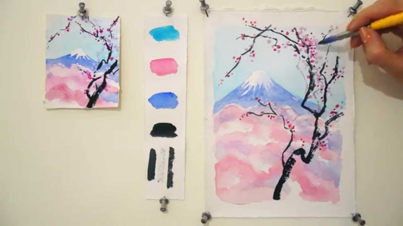 Drawn sakura blossom watercolor Mount Blossom tutorial: Fuji by