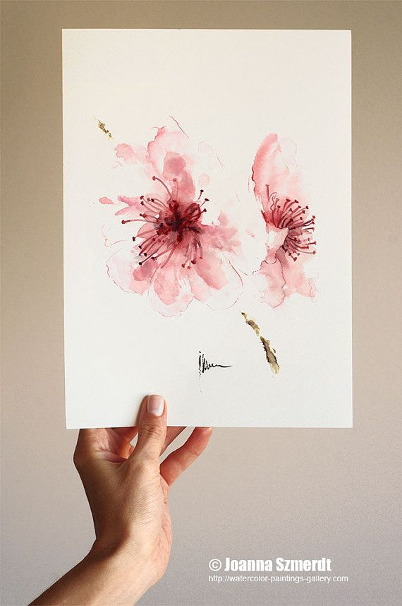 Drawn sakura blossom watercolor On aan Blossom kunst aquarel