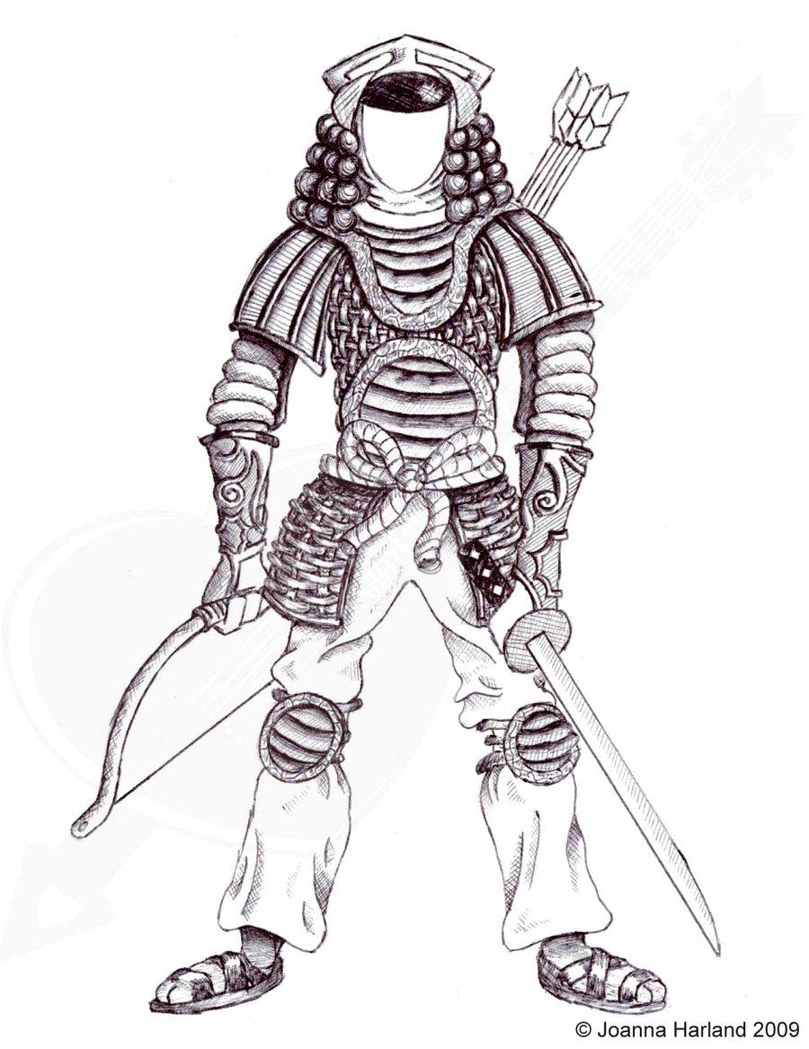 Drawn samurai Pen Drawing Ink DeviantArt HarlandGirl