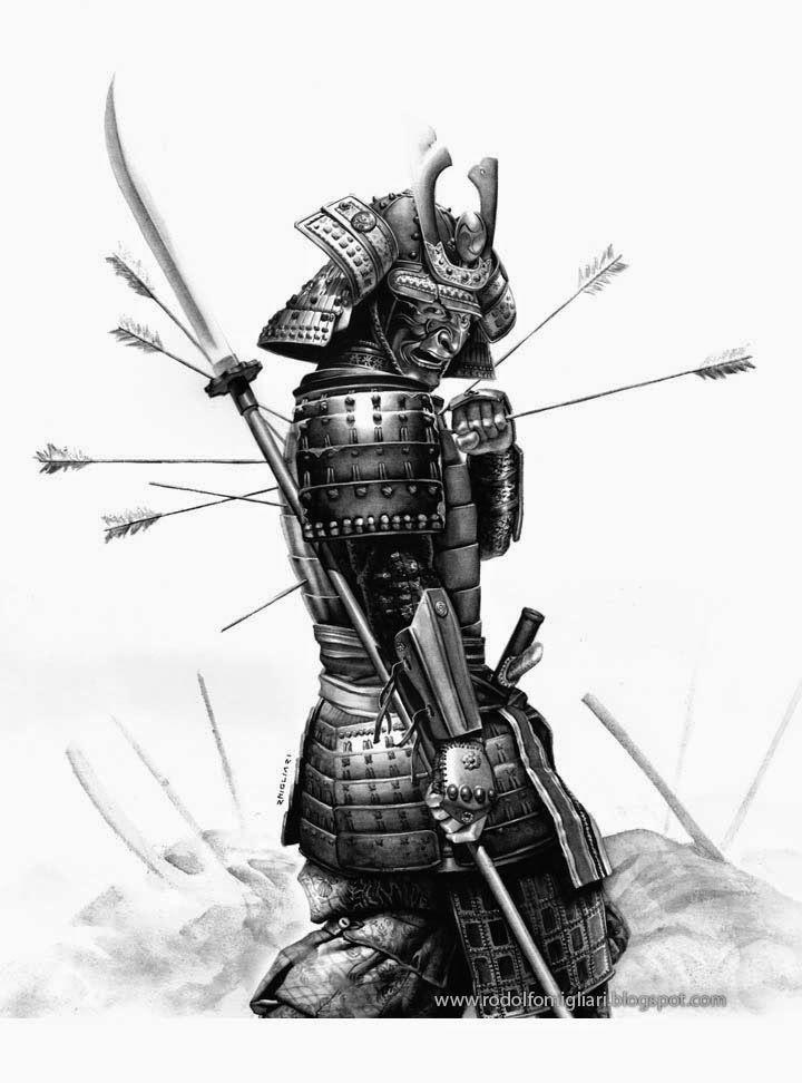 Drawn samurai 1336 arrow on Ninja Samurai