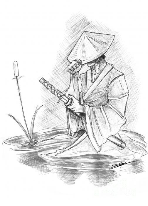 Drawn samurai Prints Ronin Drawings on Fine