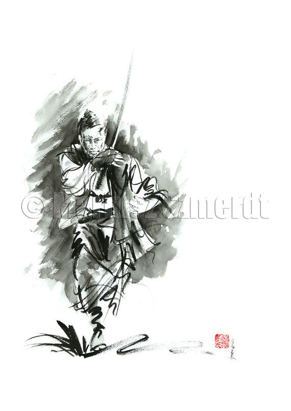 Drawn samurai abstract Painting fight watercolor PAINTING Samurai