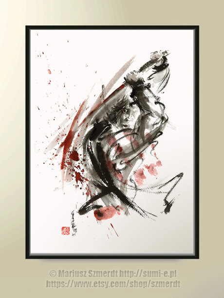 Drawn samurai abstract Sale Samurai Calligraphy Abstract for