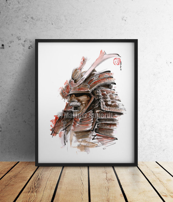 Drawn samurai abstract Https://www Mask Illustration Style Art