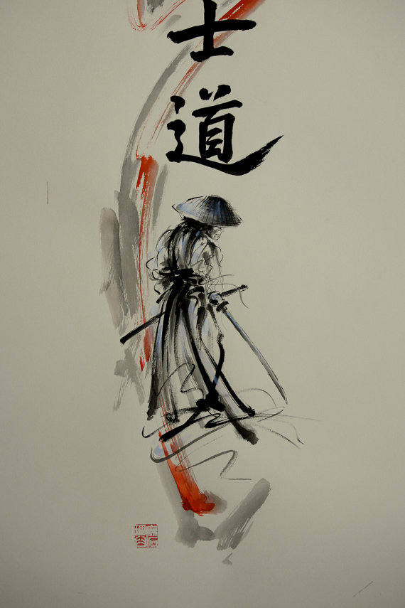 Drawn samurai abstract Abstract Samurai Painting Style Modern