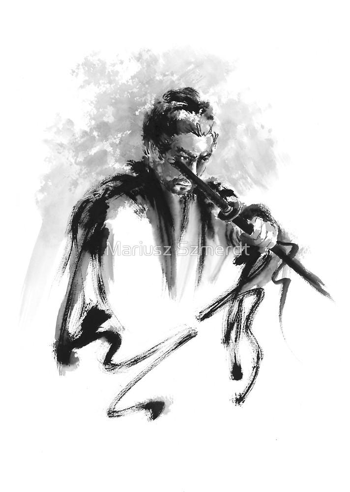 Drawn samurai bushido Warrior Bushido by Redbubble Szmerdt