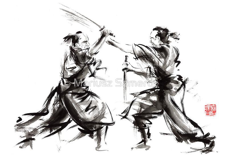 Drawn samurai bushido Arts sumi martial original artwork