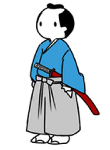 Drawn samurai cartoon Extending upward had samurai an