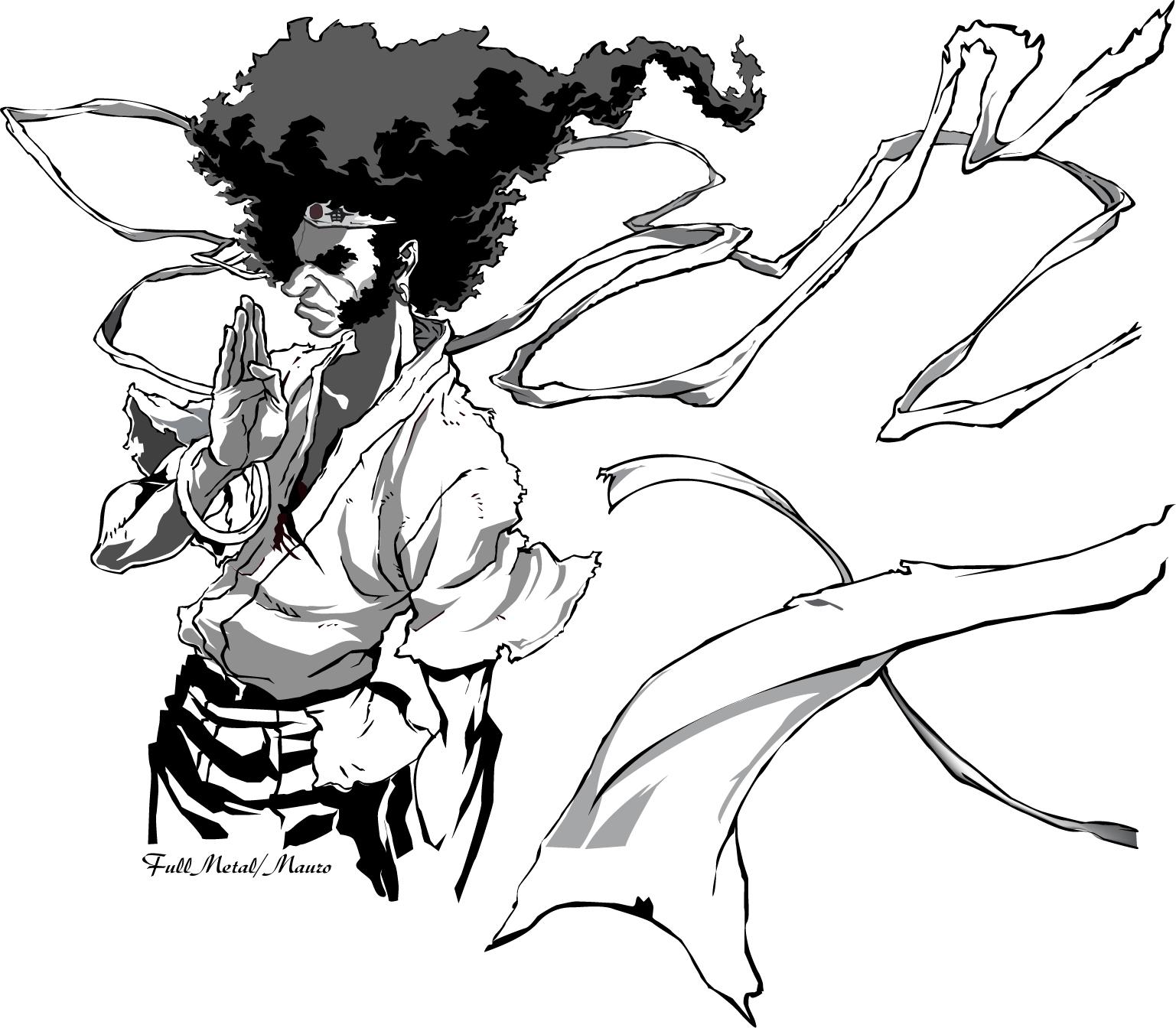 Drawn samurai cartoon Afro wallpaper afro fotos samurai