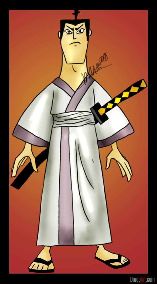 Drawn samurai cartoon Draw Step samurai draw Samurai