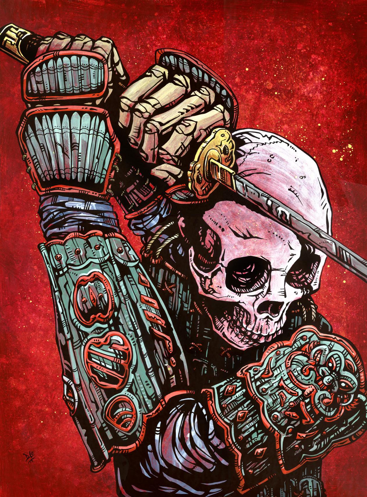 Drawn samurai dead Deadly Process with warrior exudes