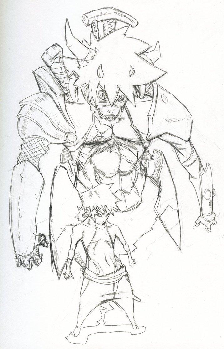 Drawn samurai demonic By pencil demon samurai by