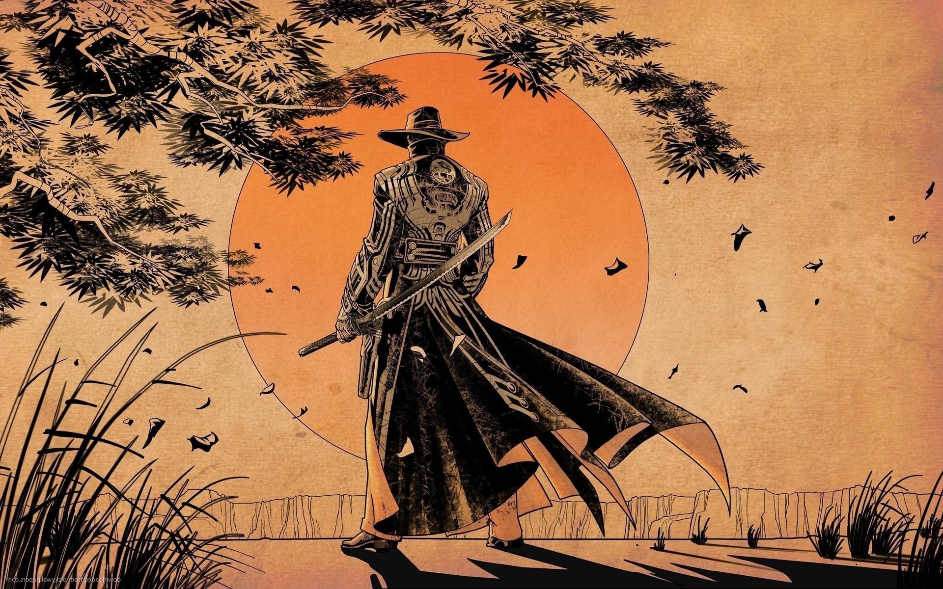 Drawn samurai desktop background Art Grass digital Cliff