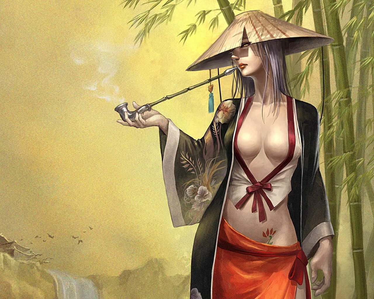 Drawn samurai desktop background Woman japanese  Asian play