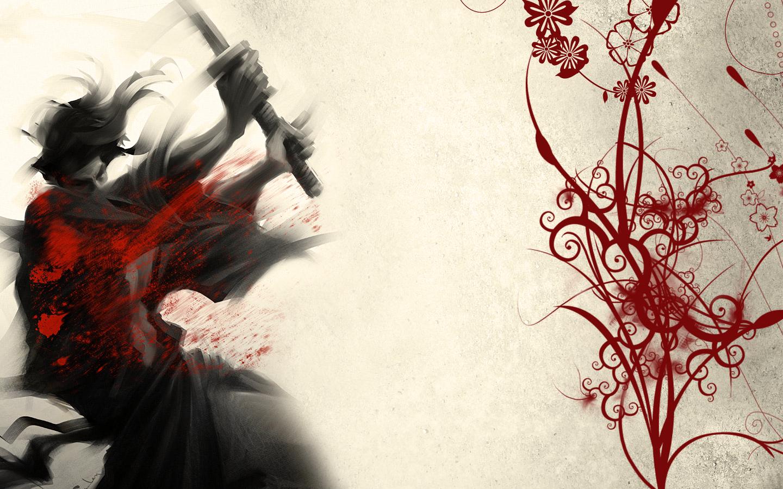 Drawn samurai desktop background Red WallpaperSafari Thread Original 1440x900