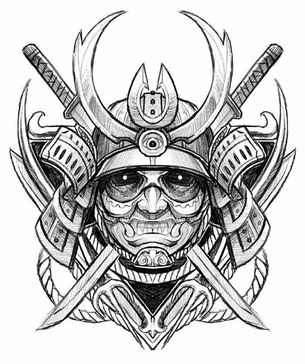 Drawn samurai face On Samurai Pinterest best images