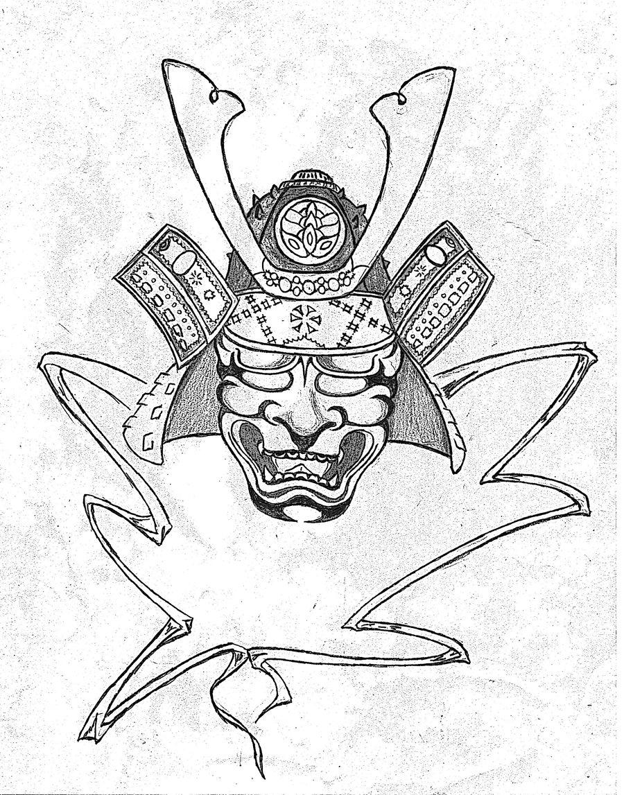 Drawn samurai face Samurai Pinterest tatoos Samurai mascara