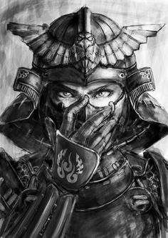 Drawn samurai face Rangiora Street Canterbury ! Samurai