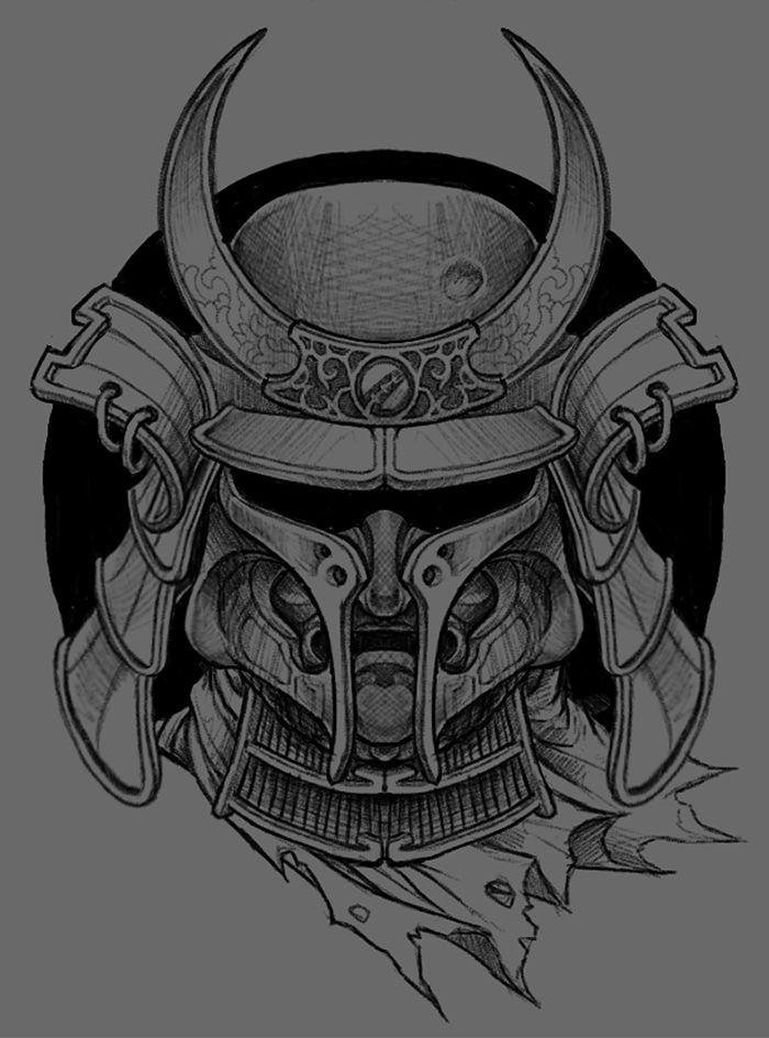 Drawn samurai face Best ideas tattoo on Behance