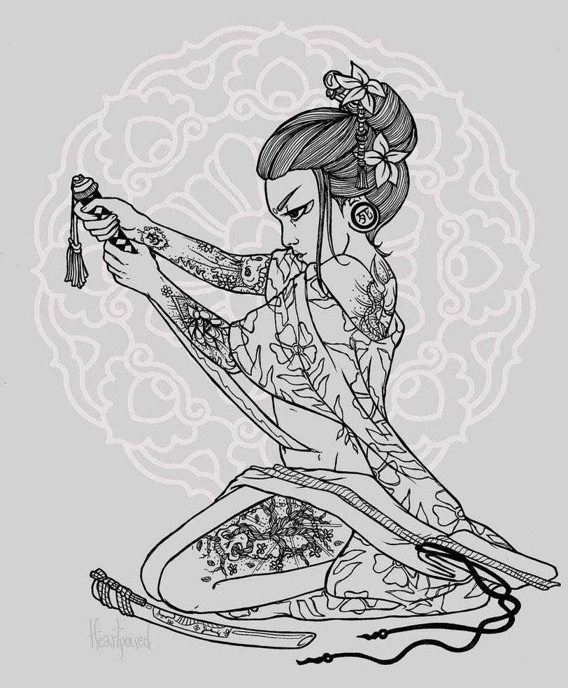 Drawn samurai harakiri Samurai heartpoised Harakiri Art by
