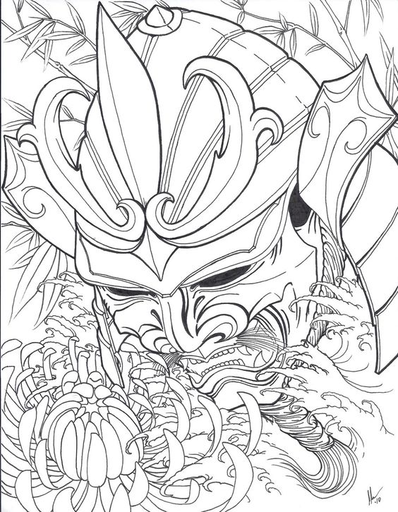 Drawn samurai head Tattoo on by outlaws samurai