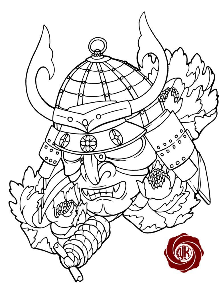 Drawn samurai head Pinterest Google tattoo Tattoo Search
