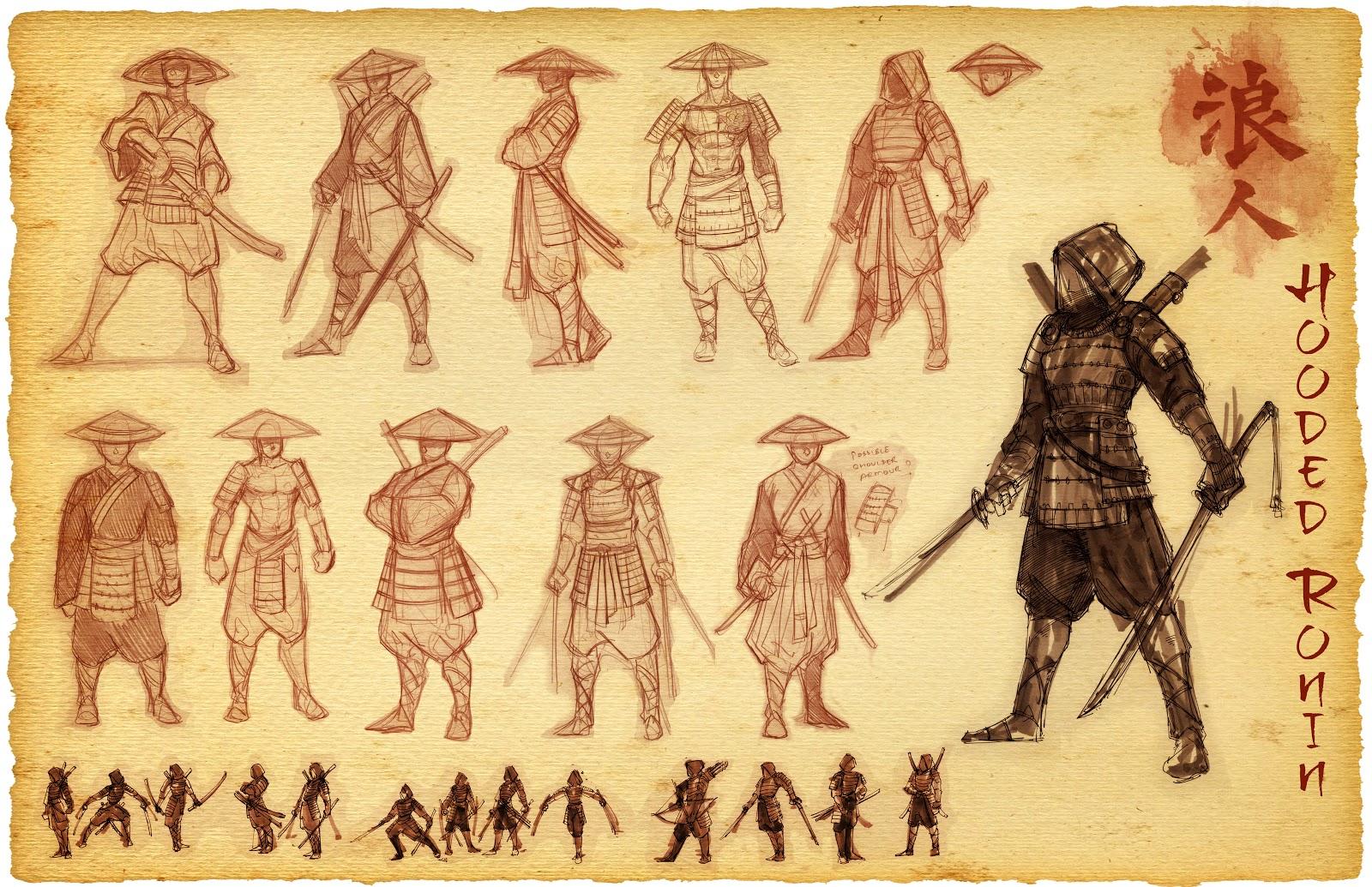 Drawn samurai hooded character ATOMIC Ronin Hooded Hooded Ronin