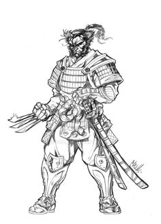 Drawn samurai hooded character Hooded Armor/Weapon 2 Wolvey Delun