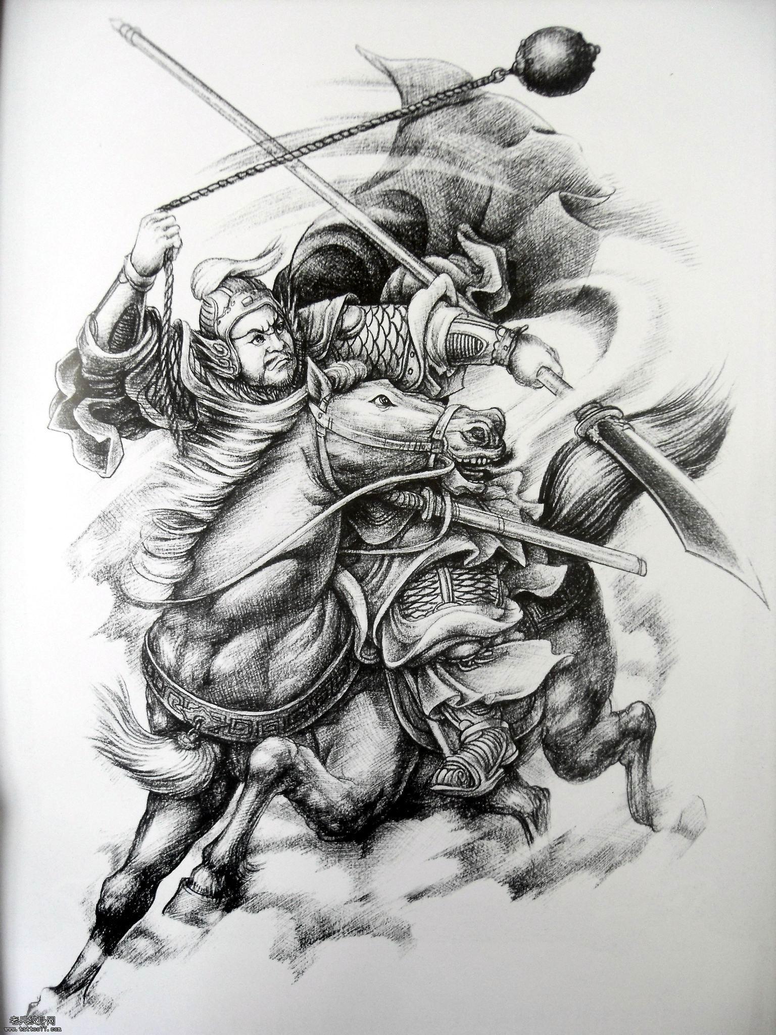 Drawn samurai horse Pin Woodburning khách binh_kiếm on