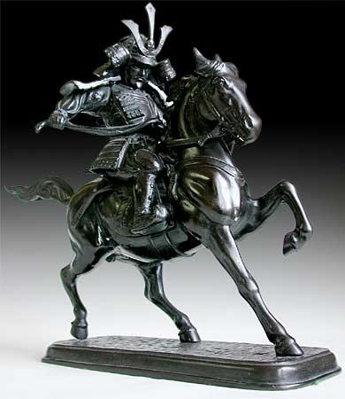Drawn samurai horse Statue Bronze Okazaki Samurai Masahige