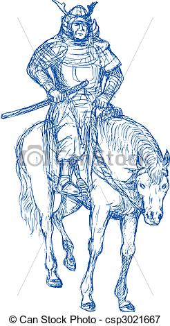 Drawn samurai horseback drawing Warrior riding Samurai Samurai sword