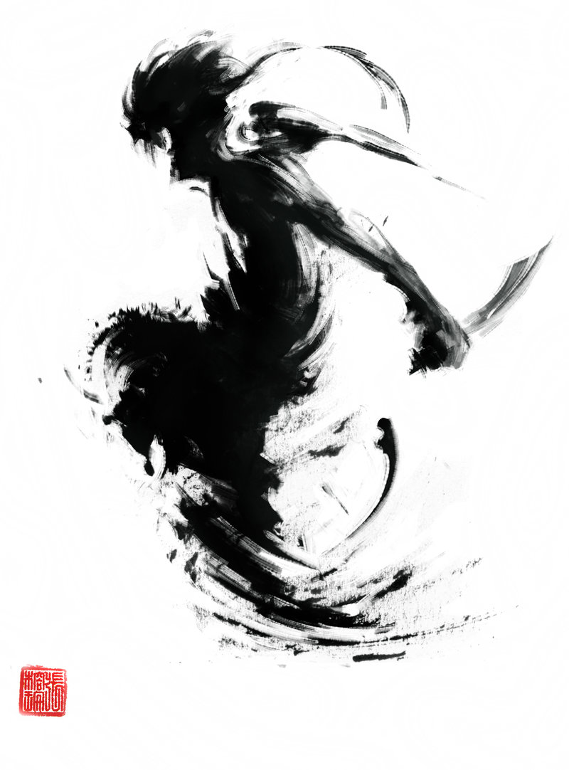 Drawn samurai ink Illustration on @deviantART Speed work