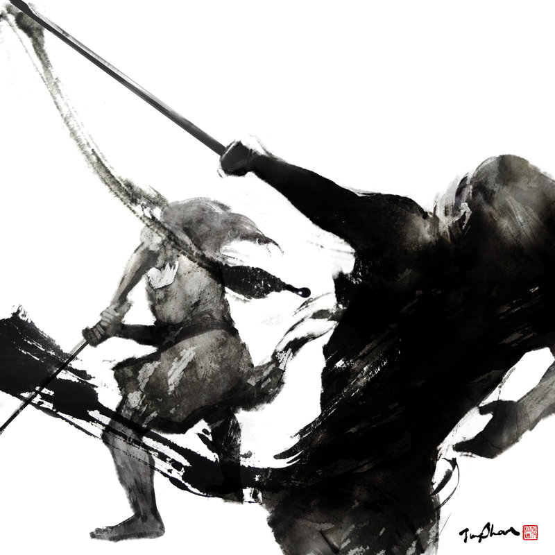 Drawn samurai ink INK Chinese Jungshan JUNGSHAN by