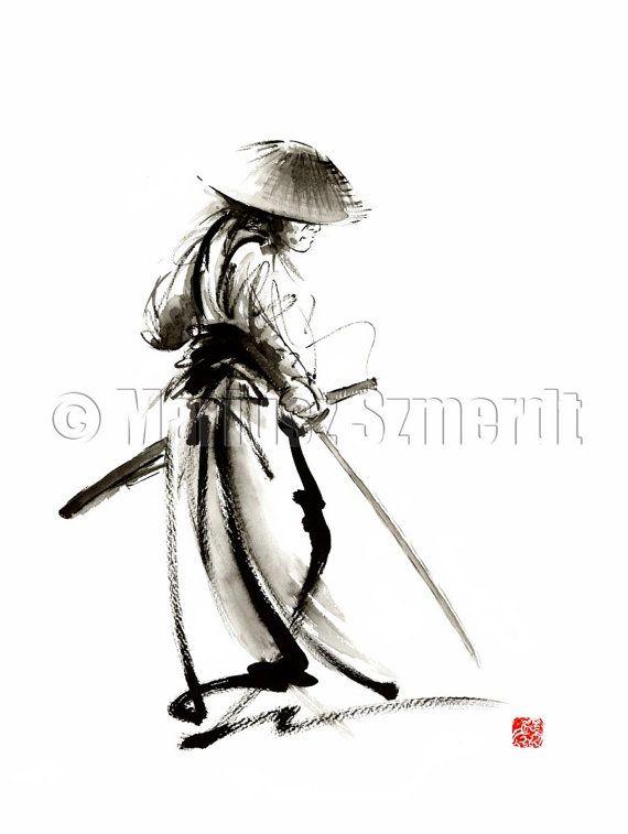 Drawn samurai ink On print ink watercolor of