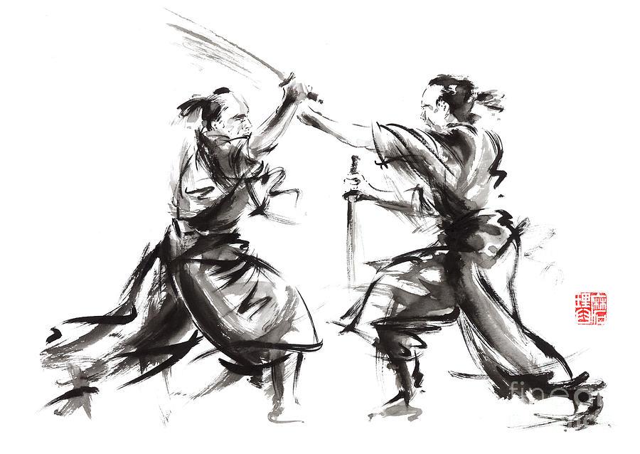 Drawn samurai ink Sumi Sword Sword Original Artwork