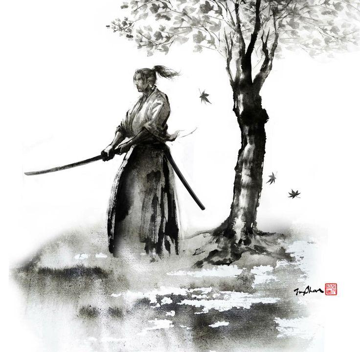 Drawn samurai ink Ink  Blade Search swords