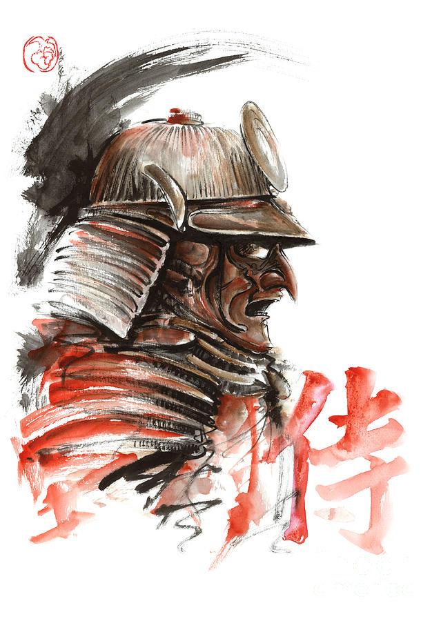 Drawn samurai japanese calligraphy Samurai Samurai Tengu Calligraphy Warrior