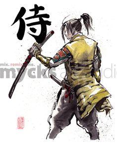 Drawn samurai japanese calligraphy Of Print holding Calligraphy Japanese