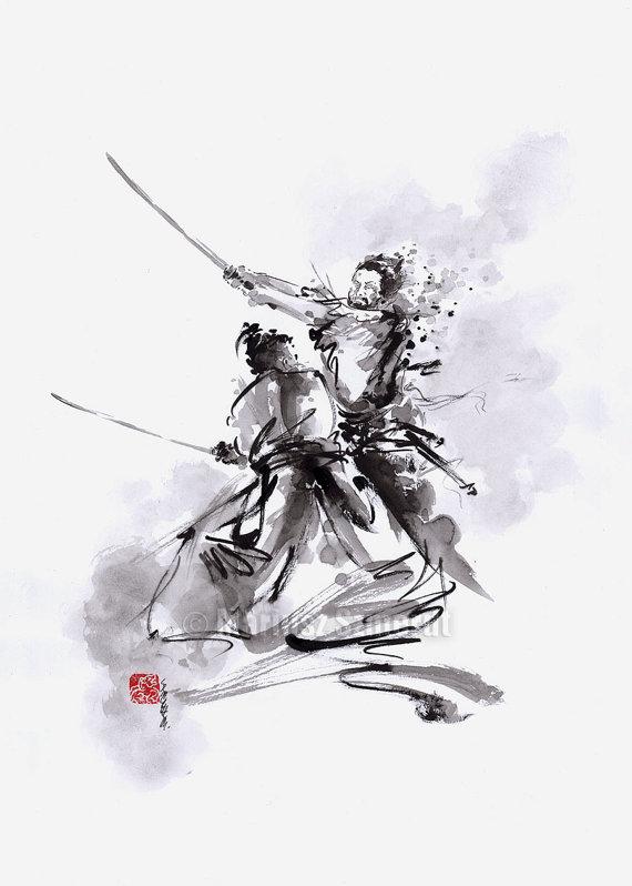 Drawn samurai japanese calligraphy Original Samurai Japan Ink Original