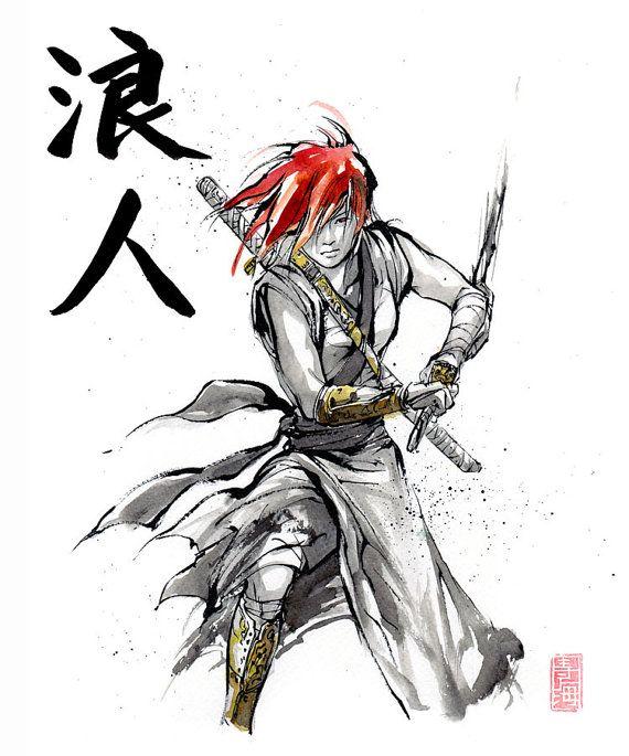 Drawn samurai japanese calligraphy Girl Print sword 119 on
