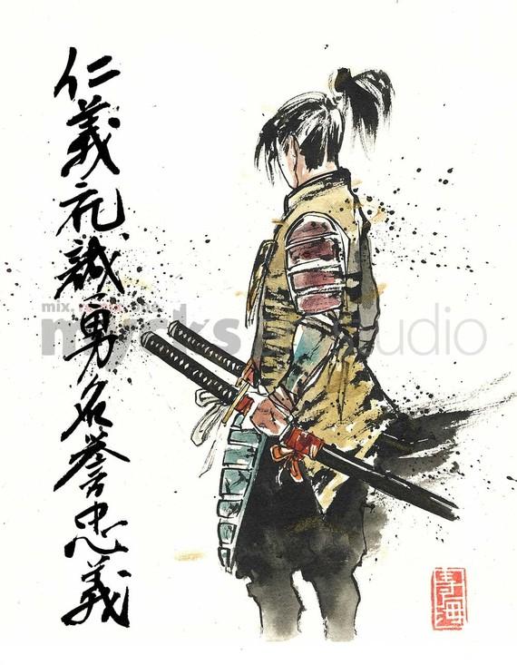 Drawn samurai japanese calligraphy Painting PRINT Seven Samurai Sword
