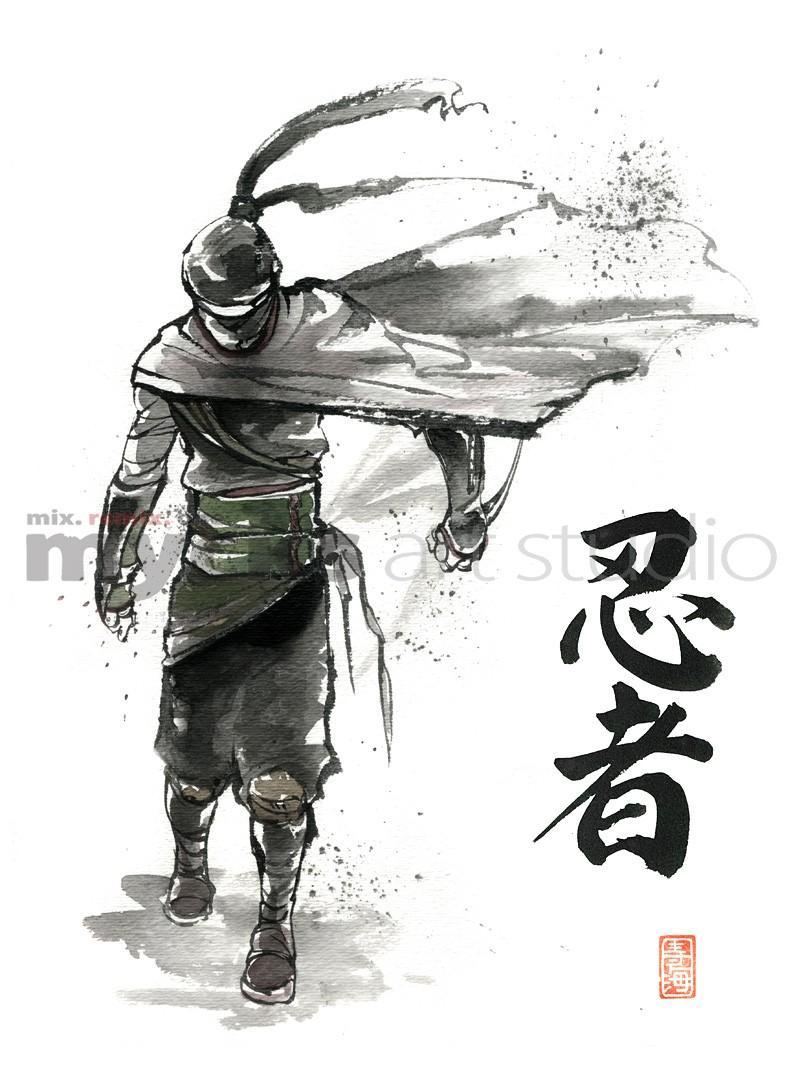 Drawn samurai japanese calligraphy Japanese PRINT PRINT Japanese Samurai