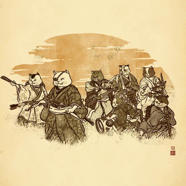 "Drawn samurai japanese drawing By classic Samurai"" Cat Inspired"
