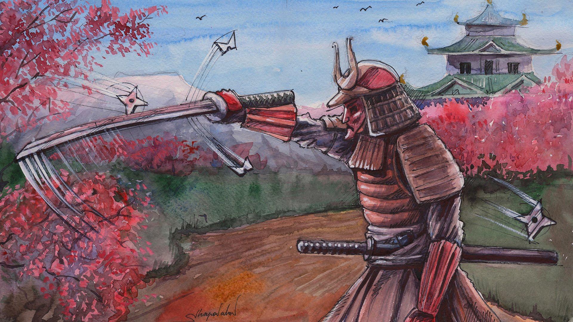 Drawn samurai japanese ninja By Watercolor Watercolor Drawing by