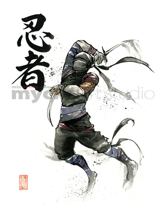 Drawn samurai japanese ninja عکس Warrior on شخصی Pin