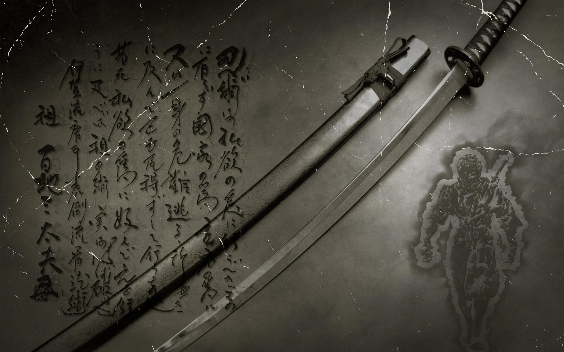 Drawn samurai japanese ninja Kanji · swords ninjas gray